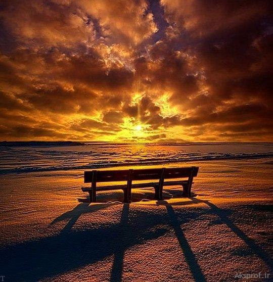 عکس غروب آفتاب غمگین نیمکت