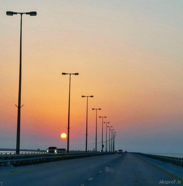 عکس غروب آفتاب غمگین جاده